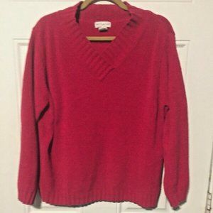 White Stag Size XL Womens Sweater Red V Neck